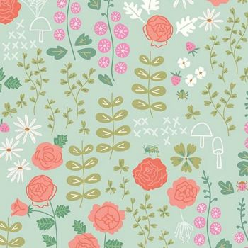 New Dawn Rose Garden Mint Floral Roses Daisies Leaves by Citrus and Mint Designs Cotton Fabric