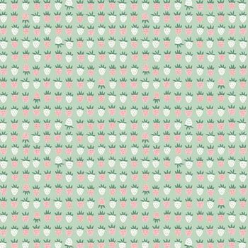 New Dawn Strawberries Mint Strawberry Fruit by Citrus and Mint Designs Cotton Fabric