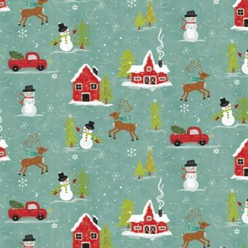 Snowed In Main Glacier Snowmen Reindeer Festive Christmas Cotton Fabric