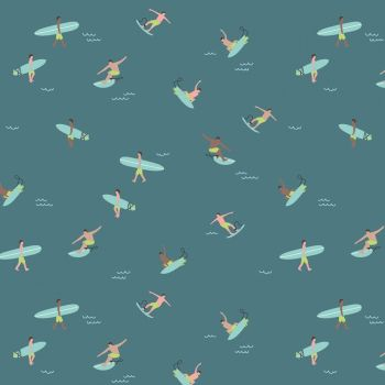 Riptide Surfs Up Teal Surfer Surfing Holiday Summer Travel by Citrus and Mint Cotton Fabric