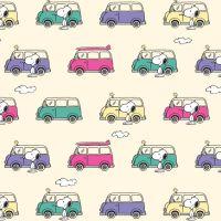 Peanuts Snoopy and Woodstock Campervan Adventure Caravan Travel Cotton Fabric