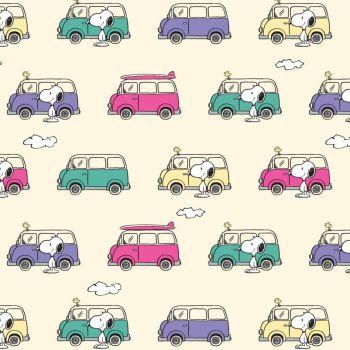 Peanuts Snoopy and Woodstock Campervan Adventure Caravan Travel Cotton Fabric per half metre