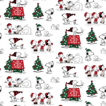 Peanuts Snoopy's Christmas Fun Be Merry and Bright Woodstock Charlie Brown Linus Lucy Cotton Fabric per half metre