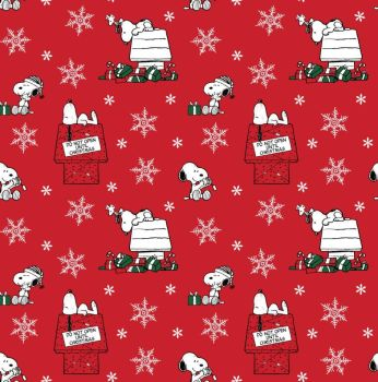 Peanuts Snoopy and Woodstock Do Not Open Until Christmas Presents Gifts Snowflakes Cotton Fabric per half metre