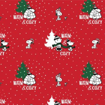 Peanuts Snoopy's Warm and Cosy Christmas Charlie Brown Woodstock Christmas Tree Scarf Bobble Hat Cotton Fabric per half metre
