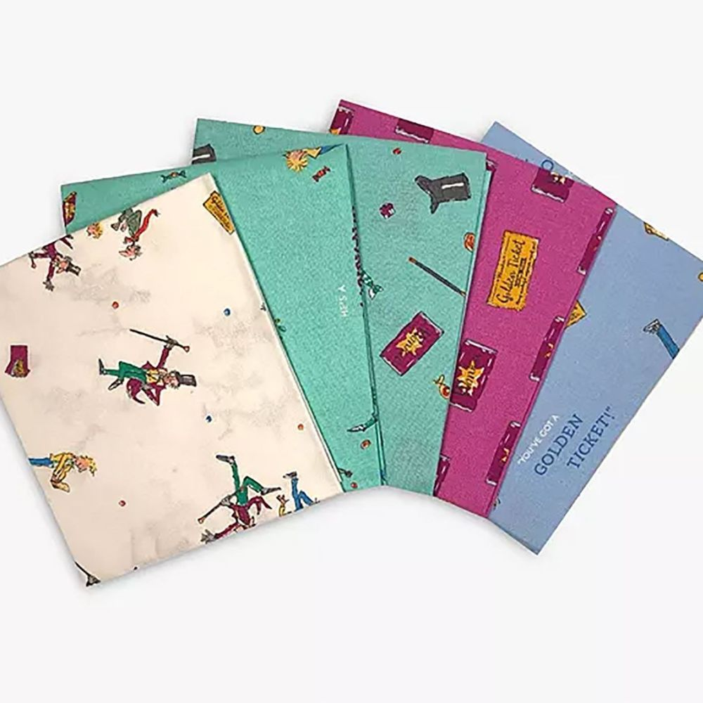 Charlie And The Chocolate Factory 5 Fat Quarter Bundle Cotton Fabric Cloth