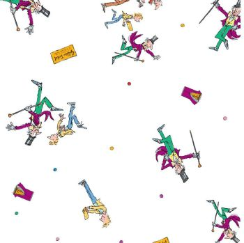 Charlie And The Chocolate Factory Charlie Scene White Golden Ticket Willy Wonka Polkadot Cotton Fabric per half metre