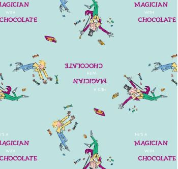 Charlie And The Chocolate Factory Willy Wonka and Charlie Blue Magician with Chocolate Cotton Fabric per half metre