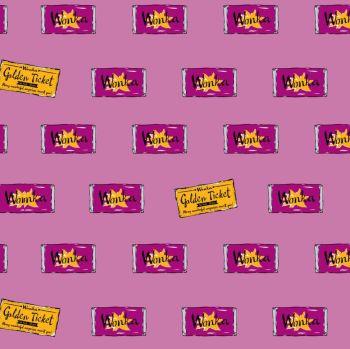 Charlie and the Chocolate Factory Wonka Bar Pink Golden Ticket Wonka Chocolate Bar Cotton Fabric per half metre