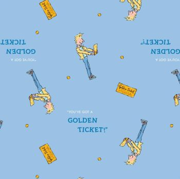 Charlie and the Chocolate Factory Golden Ticket Blue Charlie Bucket 'You've Got A Golden Ticket' Cotton Fabric per half metre