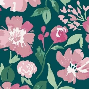 Pink Lemonade Painted Floral Teal Pink Flowers Watercolour Cotton Fabric