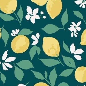 Pink Lemonade Lemons Teal Watercolour Citrus Fruit Cotton Fabric