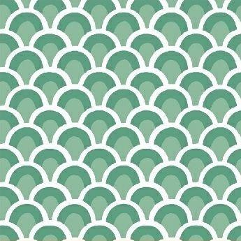 Pink Lemonade Waves Spearmint Scallop Arch Art Deco Cotton Fabric