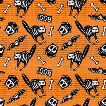 Glow Ghosts Boo! Cats Bats Owls Skeletons Bones Glow in the Dark GID Cotton Fabric