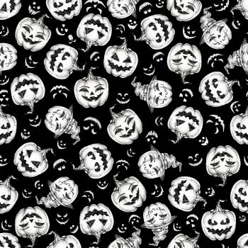Hocus Pocus Halloween Smilling Pumpkin Tossed Glow in the Dark GID Jack O'Lantern Cotton Fabric
