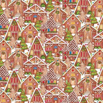 Gingerbread Factory Gingerbread Houses Snow Festive Candy Cane Christmas Cotton Fabric
