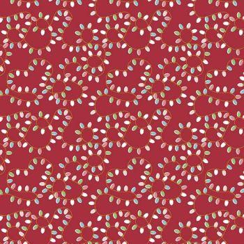 Christmas Adventure Christmas Lights Red Sparkle Gold Festoon Festive Lights Cotton Fabric