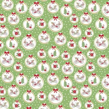 Christmas Adventure Ornaments Green Smoothie Sparkle Gold Bicycle Floral Bows Cotton Fabric