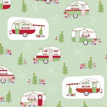Christmas Adventures Festive Glamping Sweet Mint Sparkle Gold Camper Caravan Flamingo Snowflake Cotton Fabric