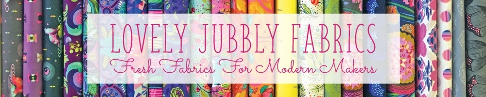 Lovely Jubbly Fabrics, site logo.
