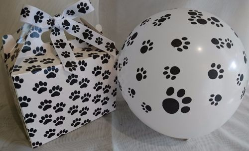Birthday Pawprint Box with balloon