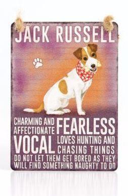 Enamel hanging sign 9cm x 6.5cm (Jack Russell Terrier)