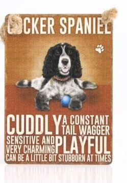Enamel hanging sign 9cm x 6.5cm (Cocker Spaniel)