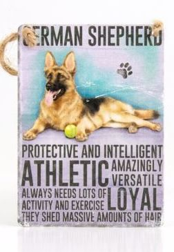 Enamel hanging sign 9cm x 6.5cm (German Shepherd)