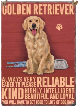 Enamel hanging sign 9cm x 6.5cm (Golden Retriever)