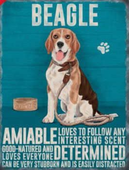 Enamel hanging sign 9cm x 6.5cm (Beagle)