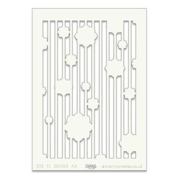 "Floral Stripe A5 stencil (8"" x 6"")"
