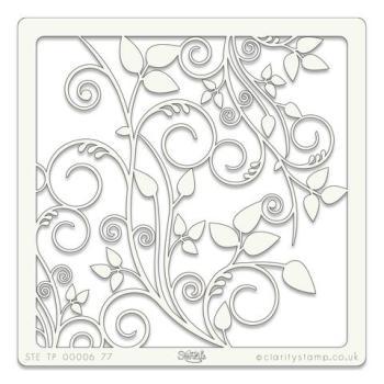 """Leafy Swirl 7"""" x 7"""" stencil"""