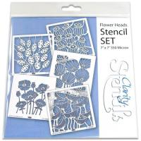 """Flower Heads 7"""" x 7"""" stencils - set of 5"""