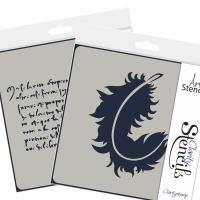 "Feather & Script stencil set - each 4"" x4"""