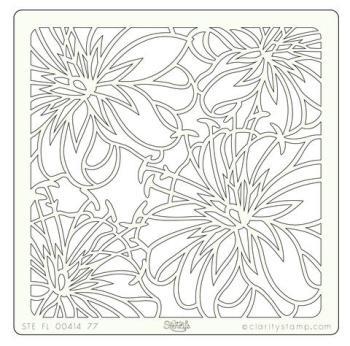 "Lilies 7"" x 7"" stencil"