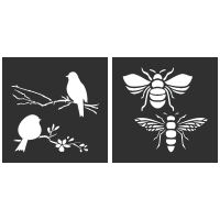 "Birds and Bees Stencil Set of 2 - each 8"" x 8"""