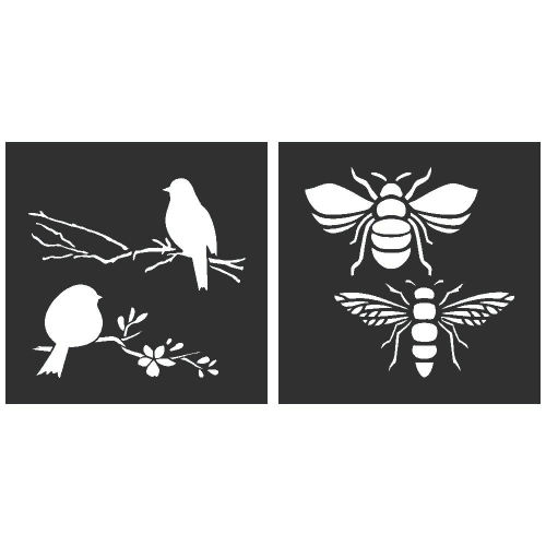 Birds and Bees Stencil Set of 2 - each 8