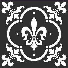 Fleur de Lis Tile Stencil: 12