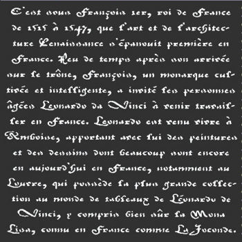"Old French Script Stencil: 12"" x 12"""