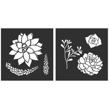 "Succulents: Set of 2 stencils - 6"" x 8"""