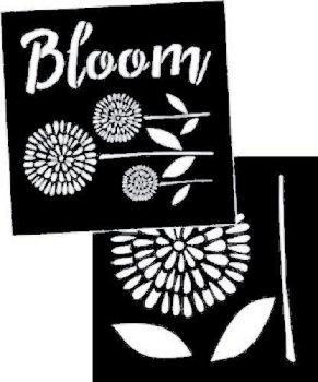 """Garden Blooms Stencil - set of 2: each 8"""" x 8"""""""