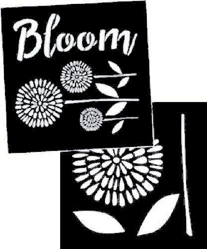 Garden Blooms Stencil - set of 2: each 8
