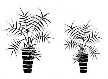 """Palm Pots pair: 7"""" & 5"""""""