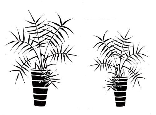 Palm Pots pair: 7