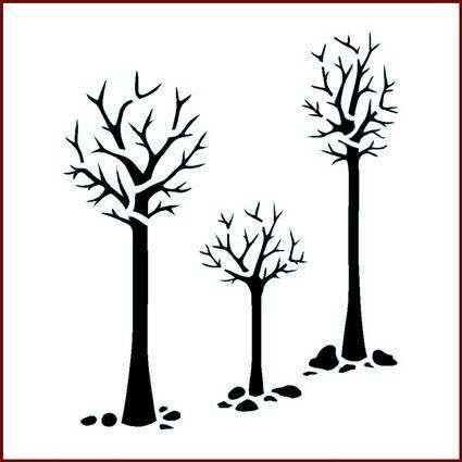 three trees 15 x 15 cm