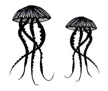 "Jellyfish pair 5"" & 4"""