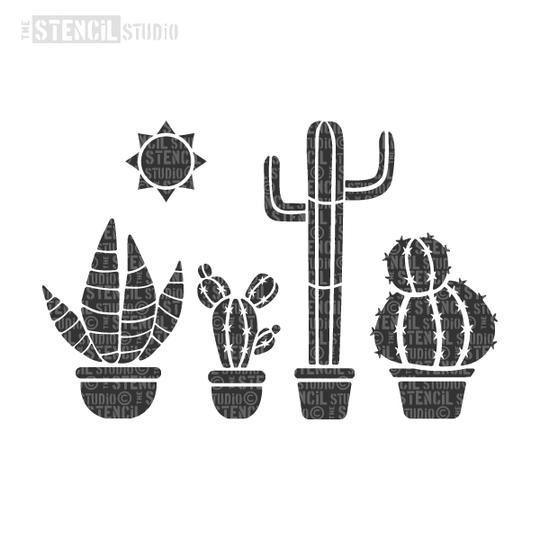 Cactuses and Sun border A4