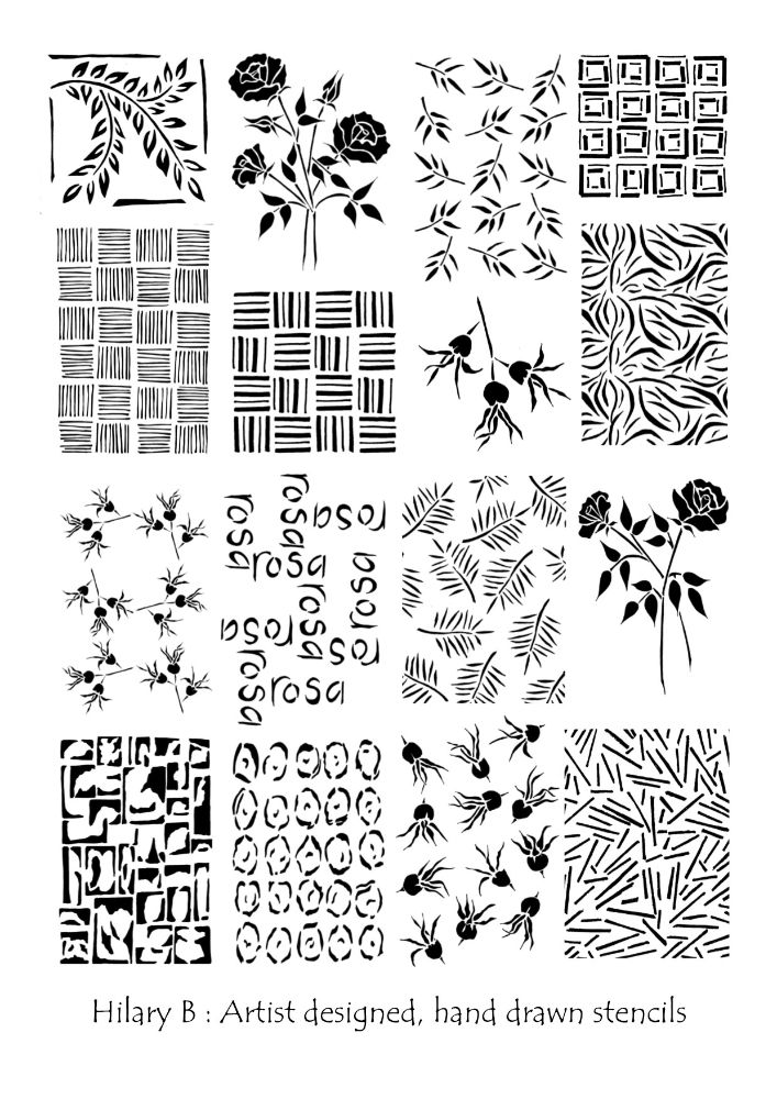 Hilary B hand-drawn Stencils
