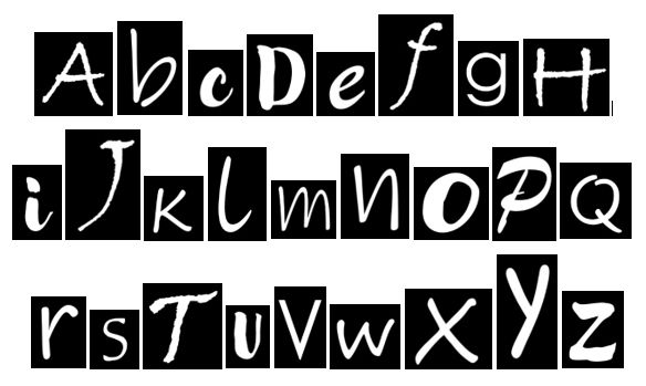 Quirky Alphabet Negative