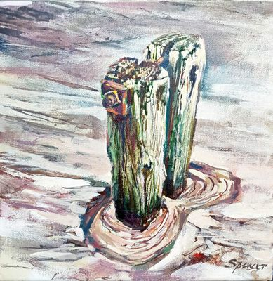 Post at low tide